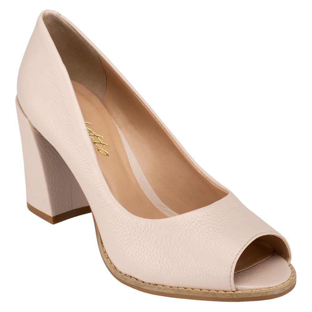 Peep Toe Costuras Couro Floater Crema