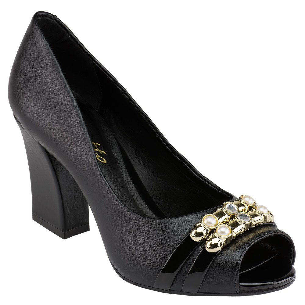Peep Toe Pedras New Preto