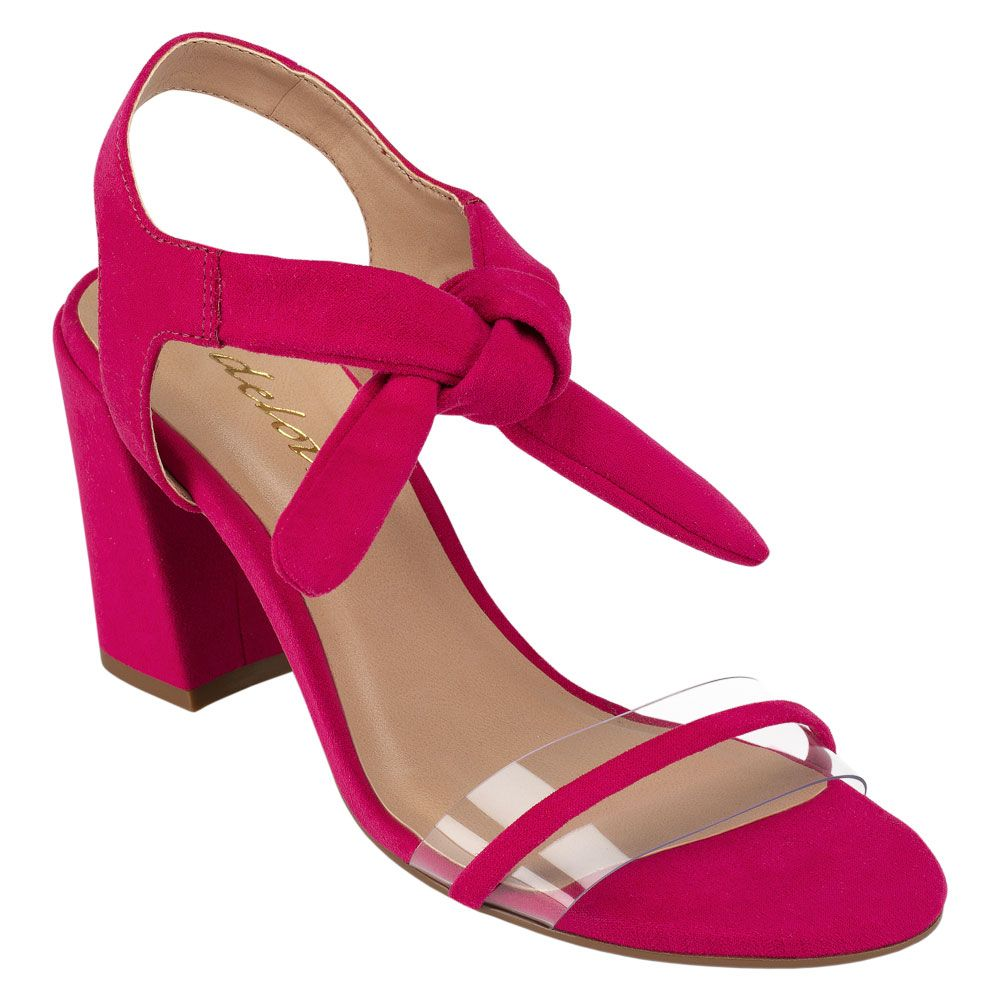 Sandália Lace-up Salto Grosso Vinil Suede Hibisco