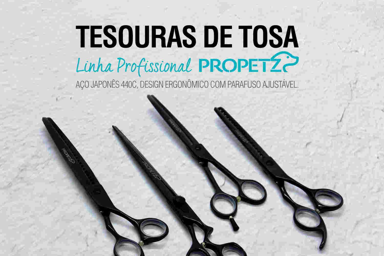 Tesouras de tosa linha profissional propetz lâmina fio navalha aço inoxidável design ergonômico elevage