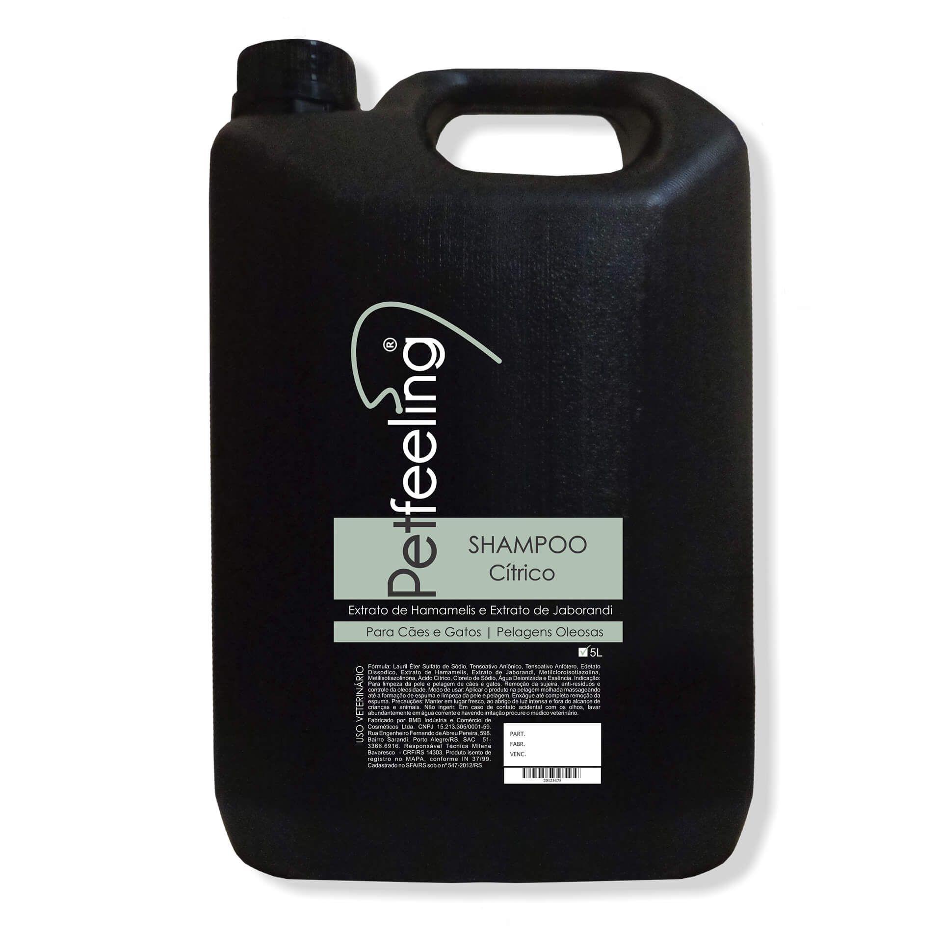 Shampoo Cítrico para Pelos Oleosos Pet Feeling 5L