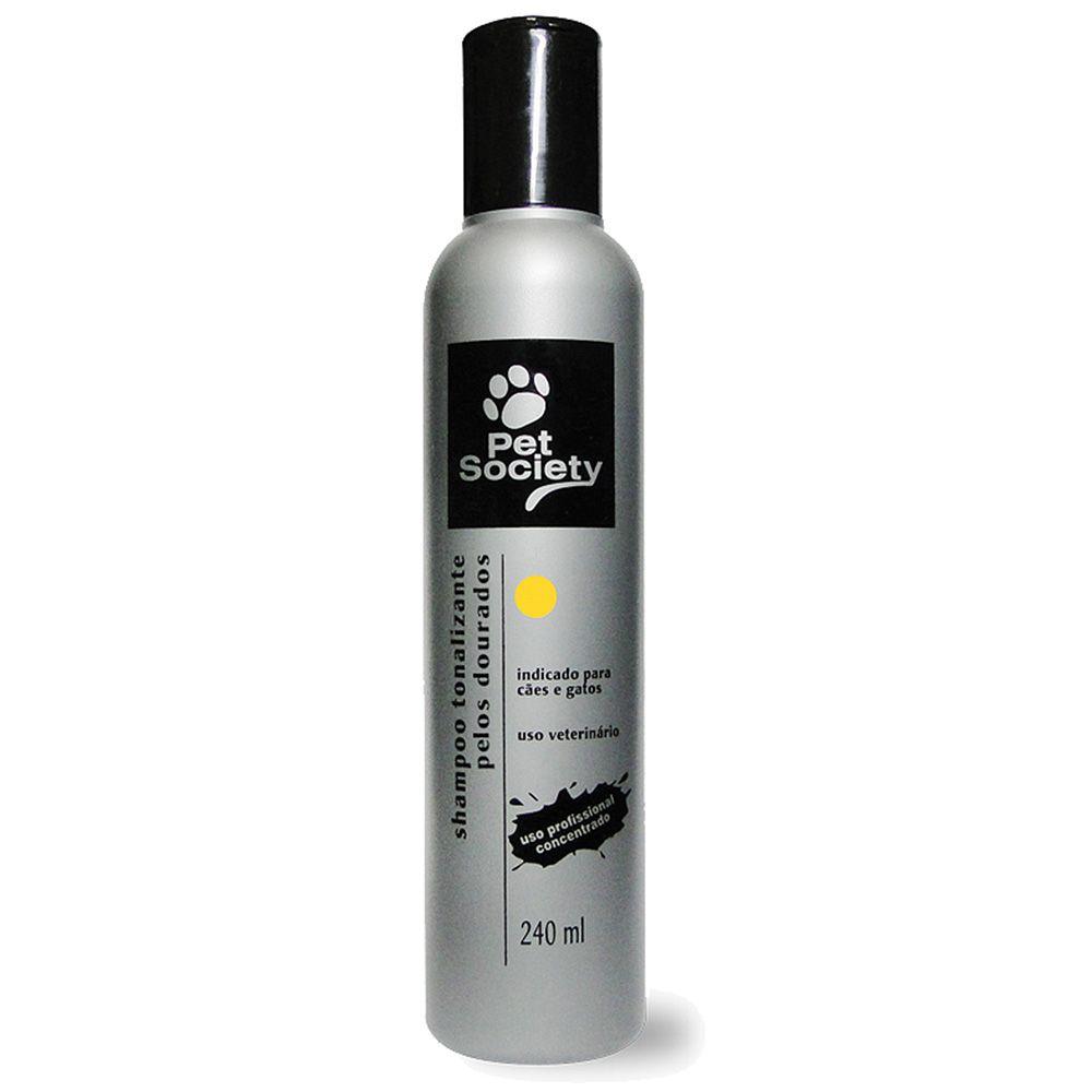 Shampoo Tonalizante Pet Society Cães e Gatos Pelos Dourados 240ml
