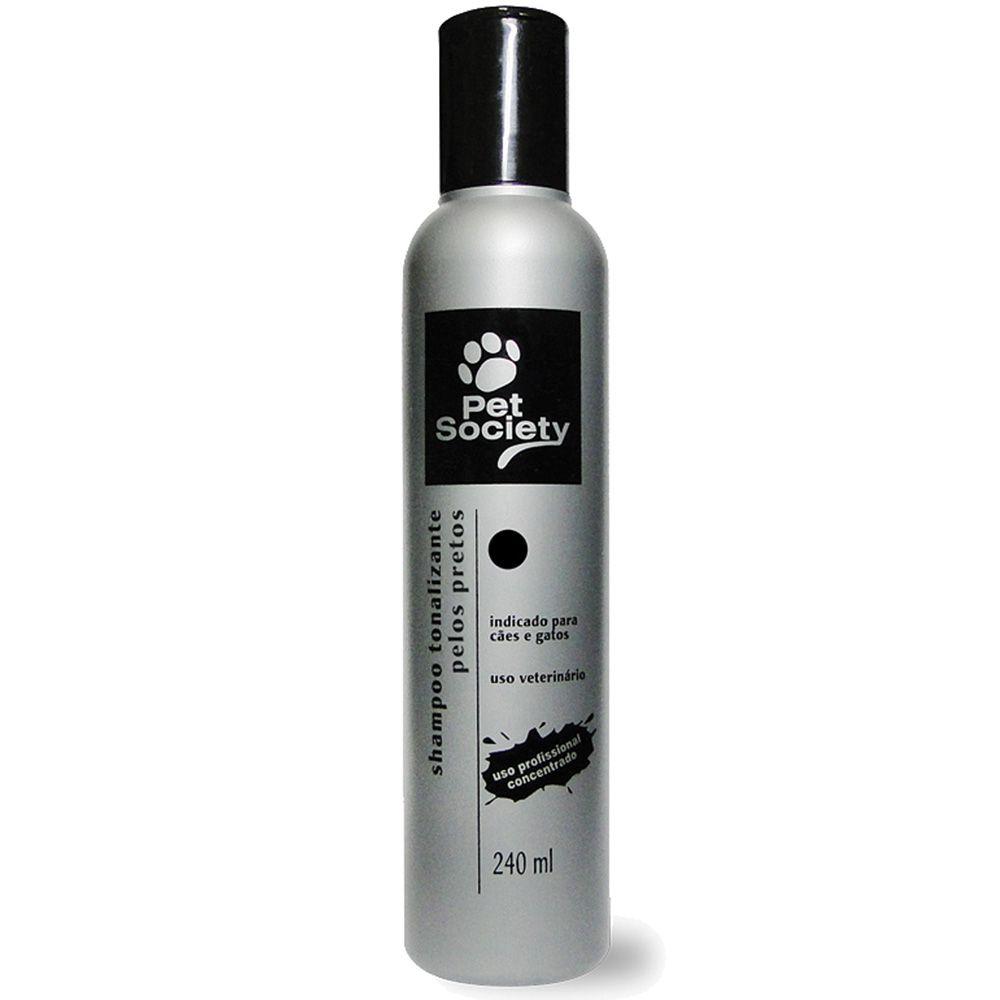 Shampoo Tonalizante Pet Society Cães e Gatos Pelos Pretos 240ml