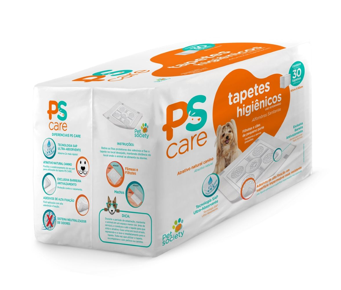 Tapete Higiênico 60x80 Pet Society PS Care (30 und)