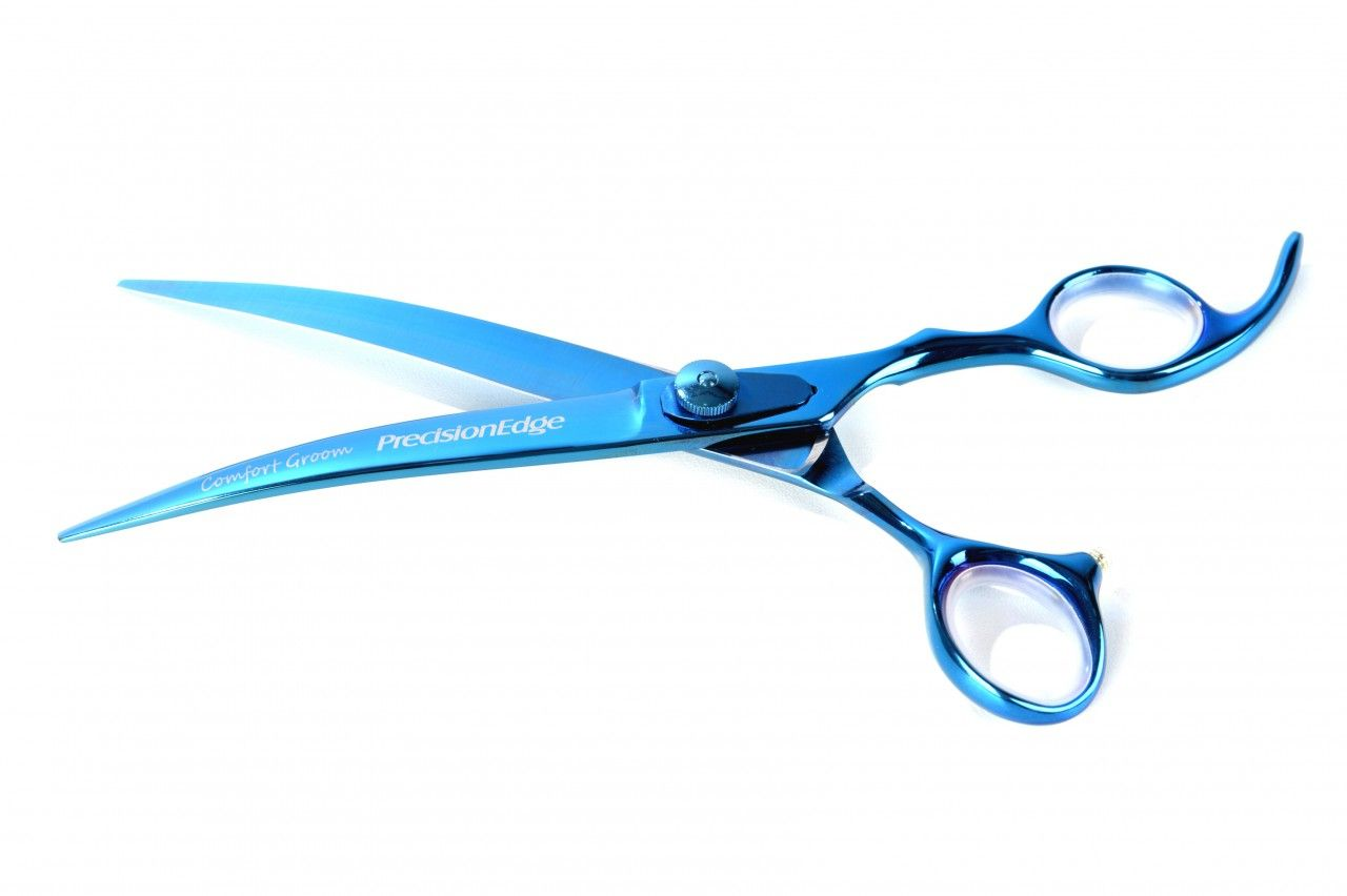 Tesoura Curva 7.5'' Azul Titanium Comfort Groom