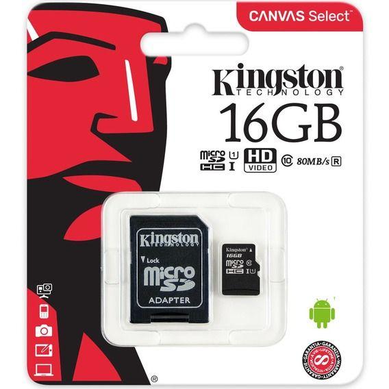 Cartão de Memória Kingston 16G Cartão de Memória Kingston 16GB Micro SDHC Canvas Select + A