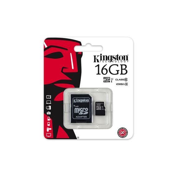 Cartão de Memória Kingston 16GB Micro SDHC I Class 10 + Adaptador SD - SDC10G2/16GB