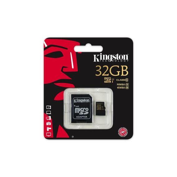 Cartão de Memória Kingston 32GB Micro SDHC Classe 10 + Adaptador Cartão SD - SDCA10/32G