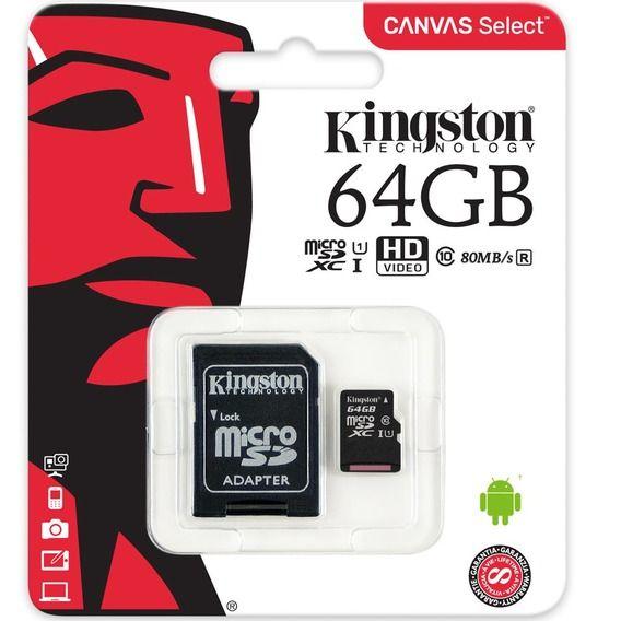 Cartão de Memória Kingston 64GB Micro SDHC Canvas Select+Adaptador Cartão SD-SDCS/64GB
