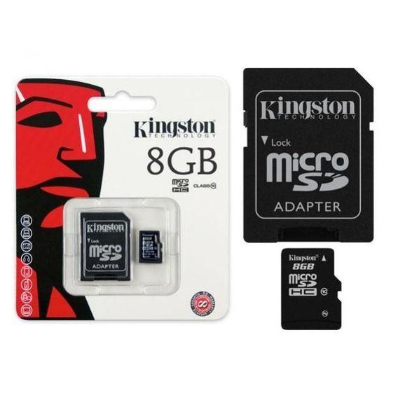 Cartão de Memória Kingston 8GB Micro SDHC Classe 10 + Adaptador Cartão SD - SDC10/8GB