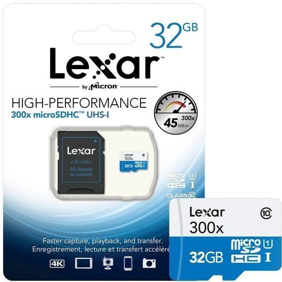Cartão de Memória Lexar 32GB Micro SDHC UHS-I Class 10 + Adaptador SD - LSDMI32GBB1NL300A