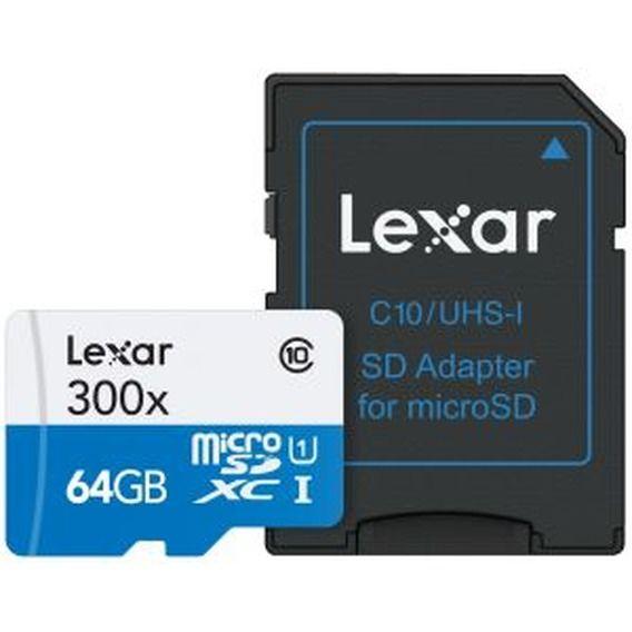 Cartão de Memória Lexar 64GB Micro SDHC UHS-I Class 10 + Adaptador SD - LSDMI64GB1NL300A
