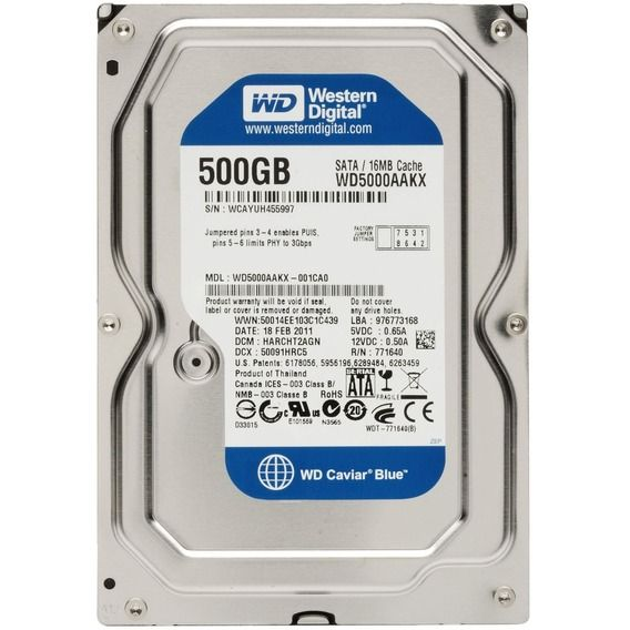 HD Western Digital WD Blue 500GB 16MB Cache 7200RPM Sata III - WD5000AAKX