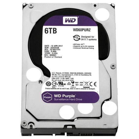 HD Western Digital WD Purple Surveillance 6TB 64MB 5400RPM Sata III - WD60PURZ