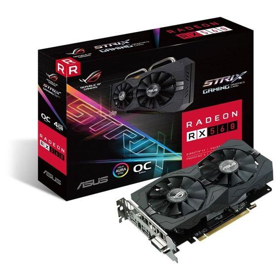 Placa de Vídeo Asus AMD Radeon RX 560 4GB GDDR5 ROG Strix Aura - ROG-STRIX-RX560-O4G-EVO