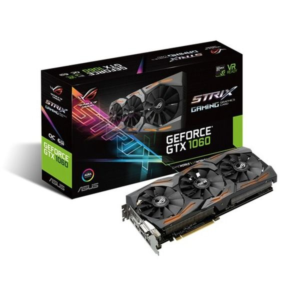 Placa de Vídeo Asus GeForce GTX 1060 6GB GDDR5 ROG Strix Aura - STRIX-GTX1060-O6G-GAMING