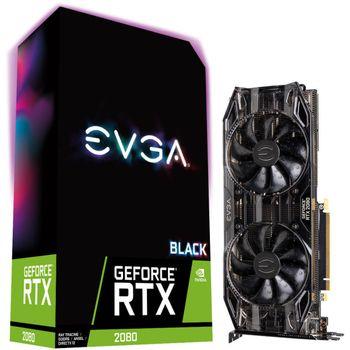 Placa de Vídeo EVGA GeForce RTX 2080 8GB GDDR6 Black - 08G-P4-2081-KR