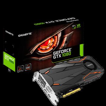 Placa de Vídeo GeForce GTX1080 Gigabyte 8GB GDDR5X Turbo Fan OC Edition-GV-N1080TTOC-8GD