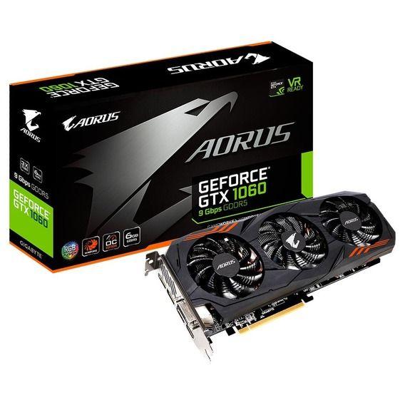 Placa de Vídeo Gigabyte GeForce GTX 1060 6GB GDDR5 Aorus RGB - GV-N1060AORUS-6GD