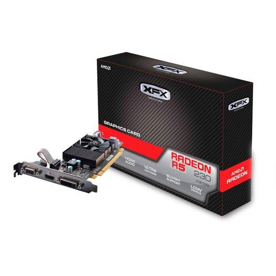 Placa de Vídeo XFX AMD Radeon R5 230 2GB DDR3 Low Profile - R5-230A-CLF2