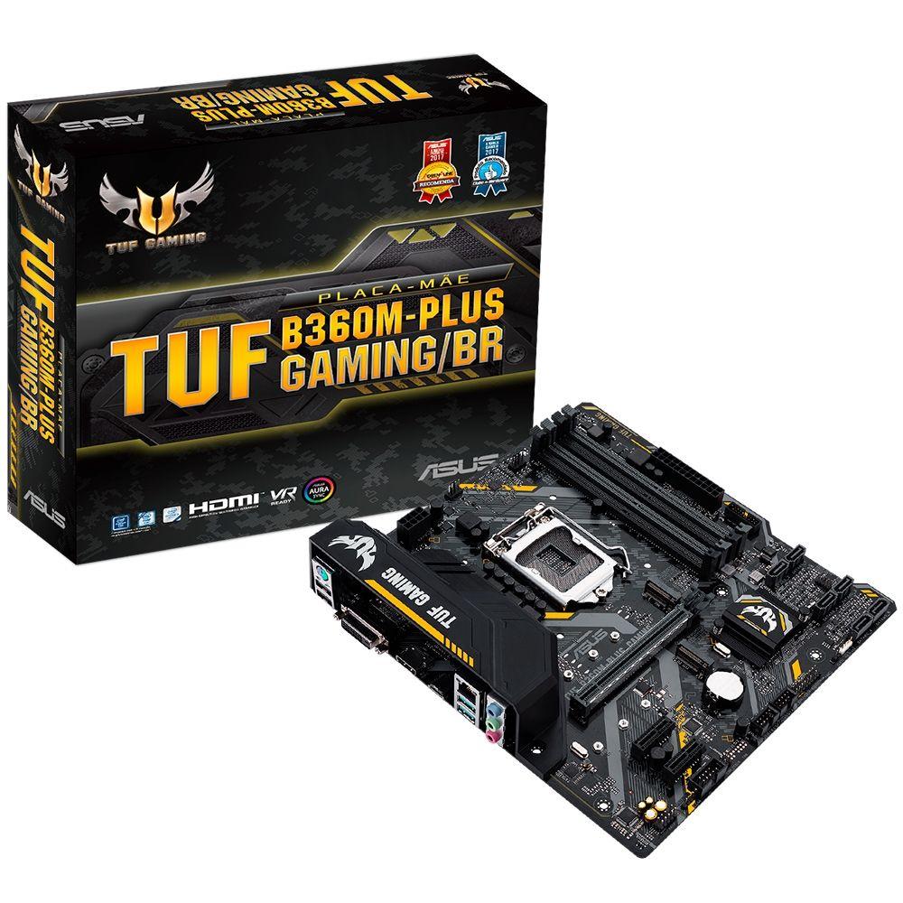 Placa Mãe Asus TUF B360M -Plus Gaming/BR RGB LED - LGA1151