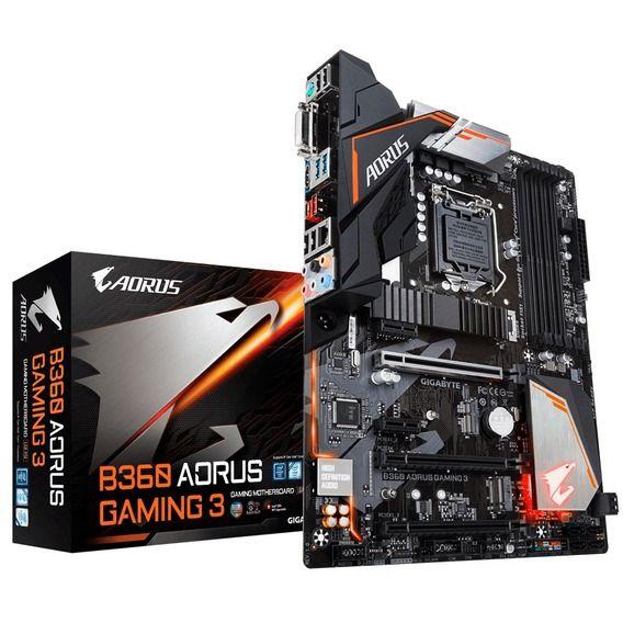 Placa Mãe Gigabyte B360 Aorus Placa Mãe Gigabyte B360 Aorus Gaming 3 RGB LED - LGA1151