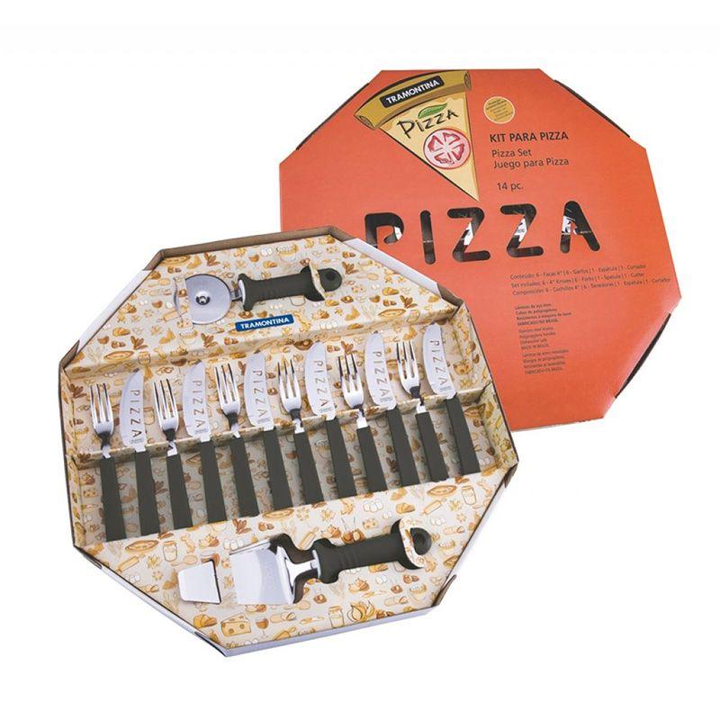 Conjunto Para Pizza 14 Peças Preto Tramontina