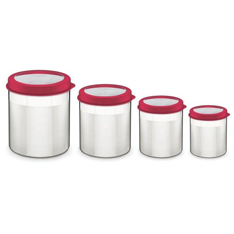 Jogo de Potes 4 Pçs Inox Tampa Vermelha Cucina Tramontina