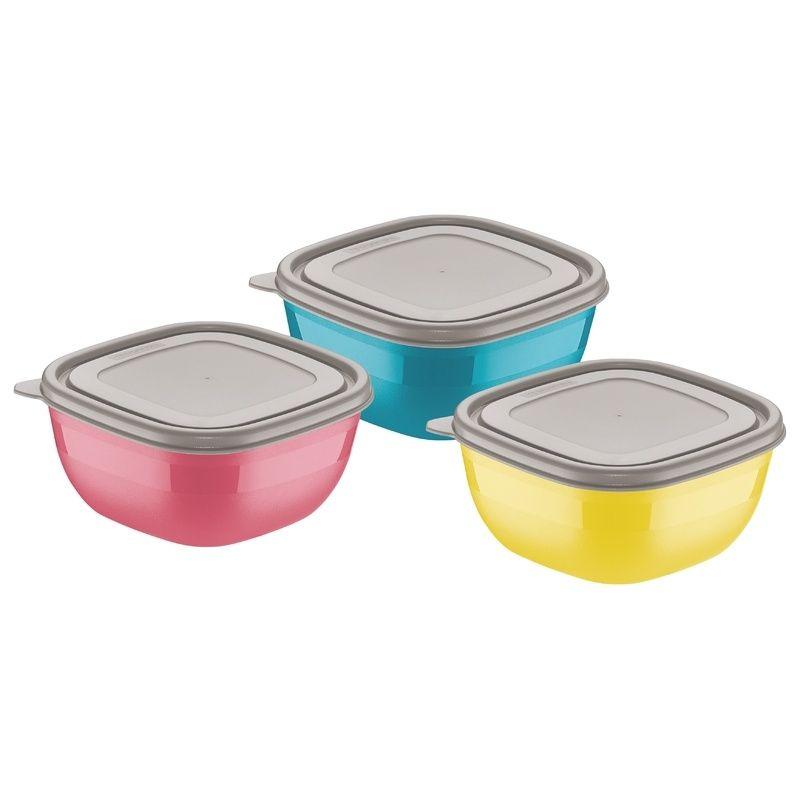Conjunto de Potes Coloridos Com Tampas Cinzas 0,6 Litros 3 Peças Mixcolor Tramontina
