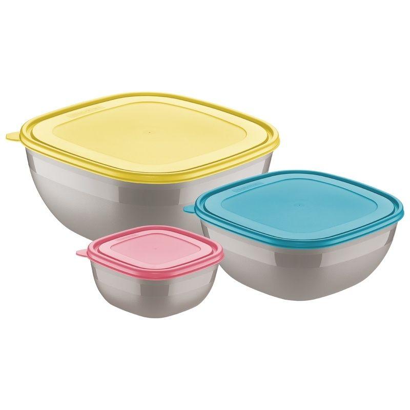 Jogo de Potes Cinzas Com Tampas Coloridas 3 Peças Mixcolor Tramontina