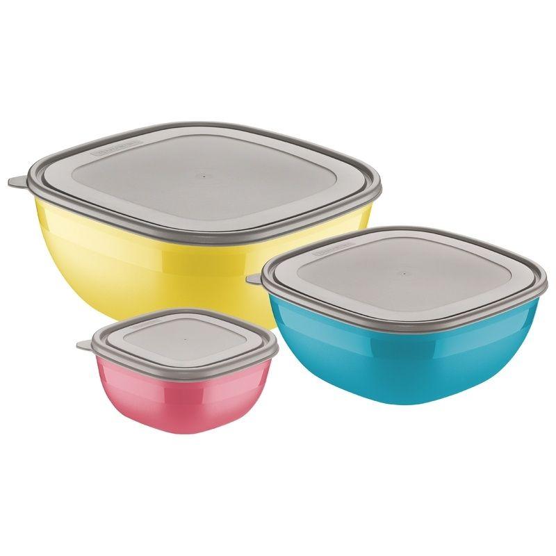 Jogo de Potes Coloridos Com Tampas Cinzas 3 Peças Mixcolor Tramontina