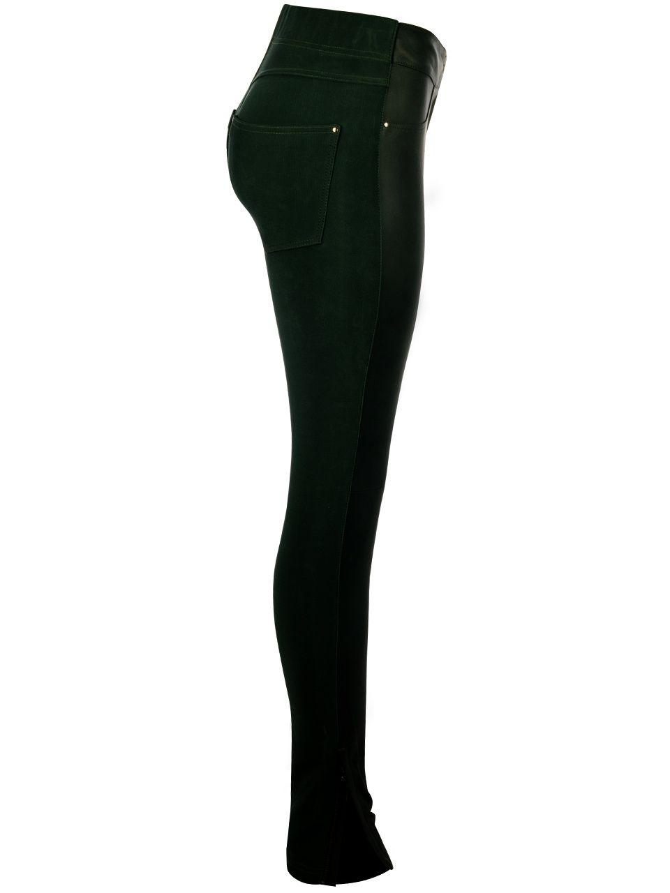 Calça Skinny em Couro e Malha Encorpada - Liziane Richter
