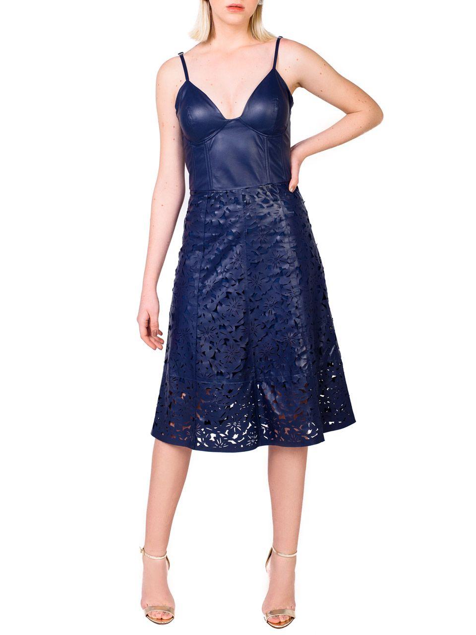 Vestido de Alça  com corta à Laser Floral - Liziane Richter
