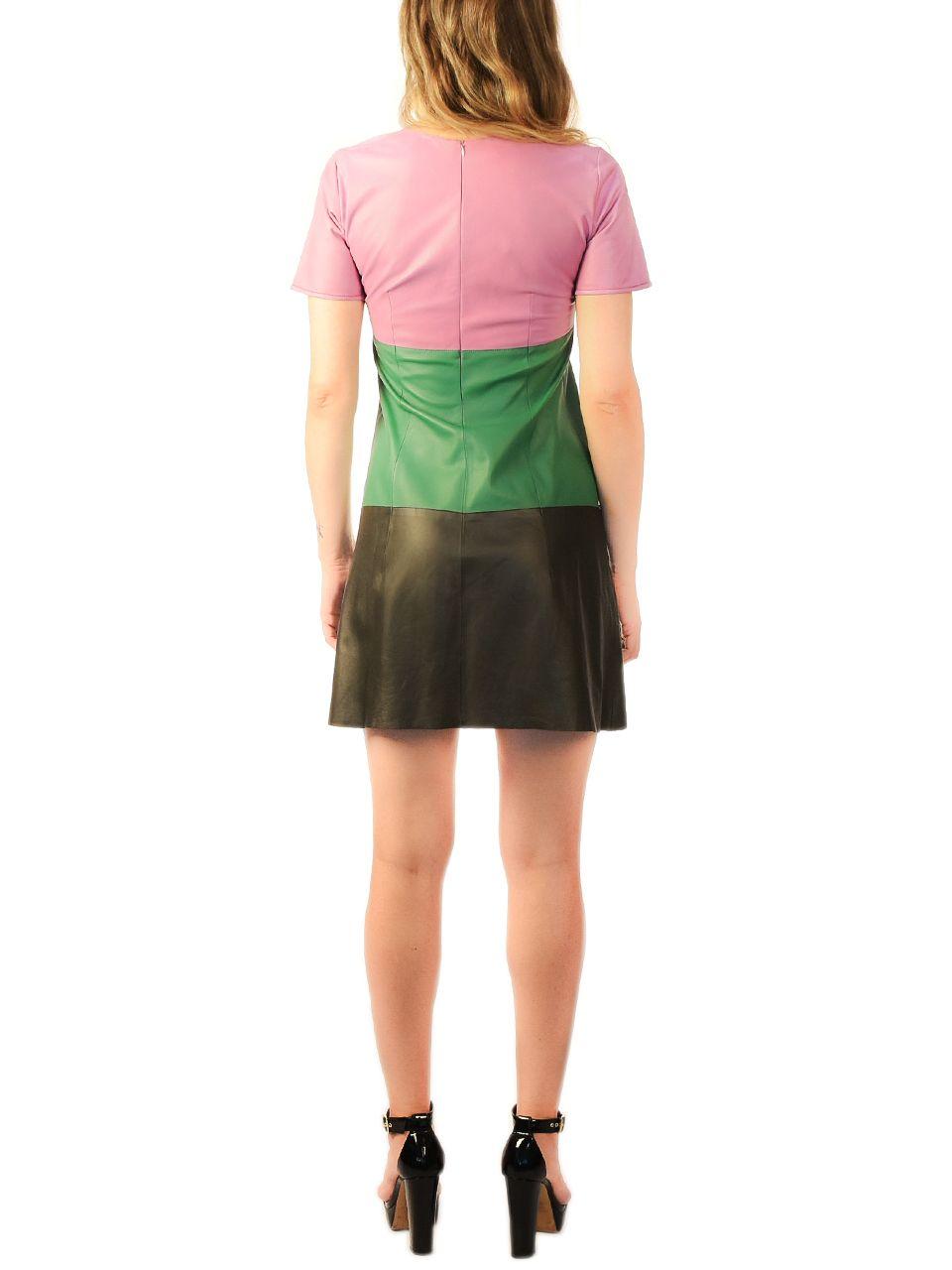 Vestido de Couro no Estilo Camiseta com Ziper nas Costas - l
