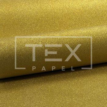 Papel com Glitter Adesivo Ref 07 Dourado